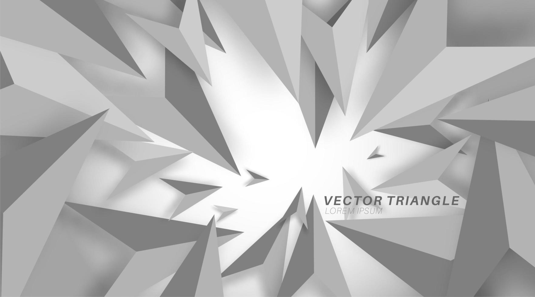 sfondo grigio con forme geometriche 3d. sfondo con poligoni 3d. sfondo con triangoli che cadono vettore