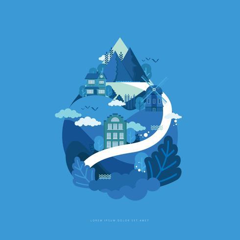 Illustrazione di advocacy dell'acqua pulita vettore