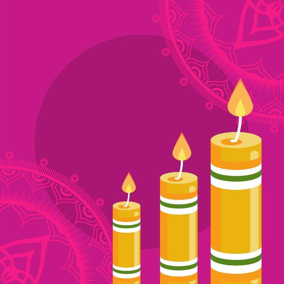 felice celebrazione diwali con tre candele in sfondo rosa vettore