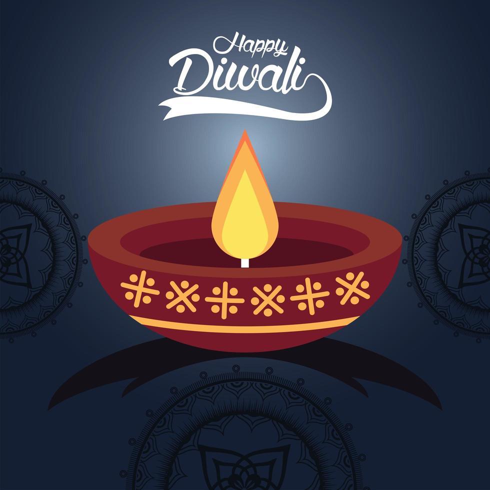 felice celebrazione di diwali con candela e mandala in sfondo blu vettore