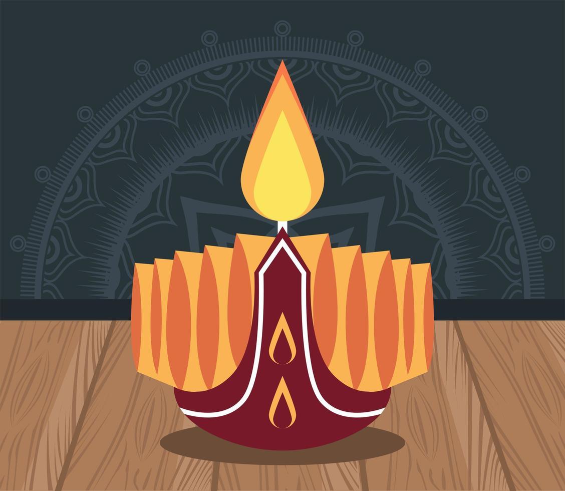 felice celebrazione di diwali con candela vettore
