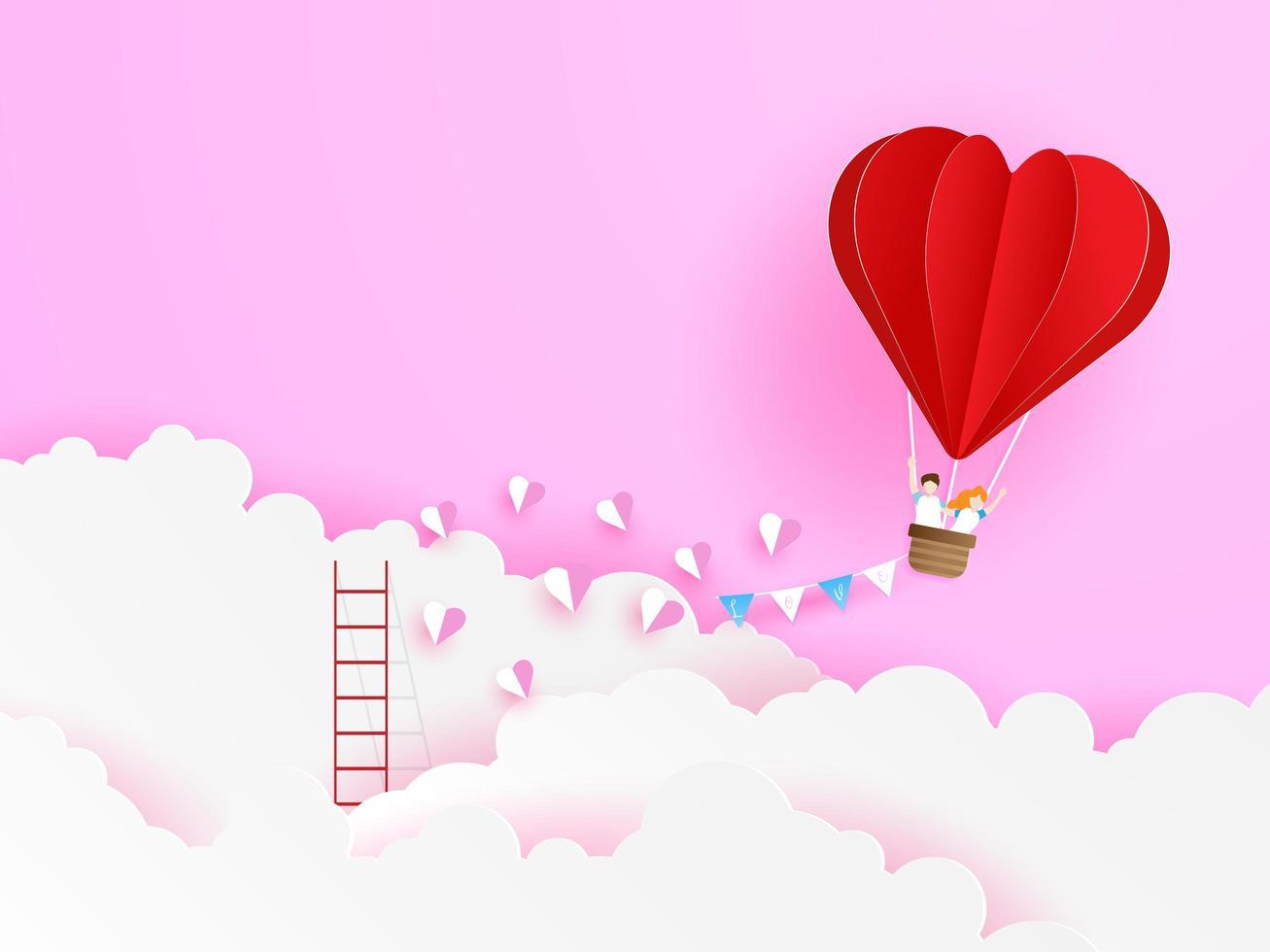 amore coppia volare con palloncino a forma di cuore rosso vettore