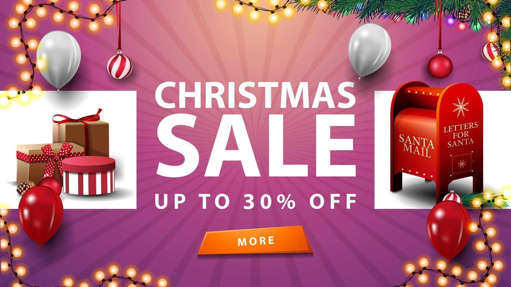 saldi natalizi, fino a 30, banner sconto rosa con regali di natale, ghirlanda, palloncini bianchi, bottone e cassetta delle lettere di Babbo Natale vettore