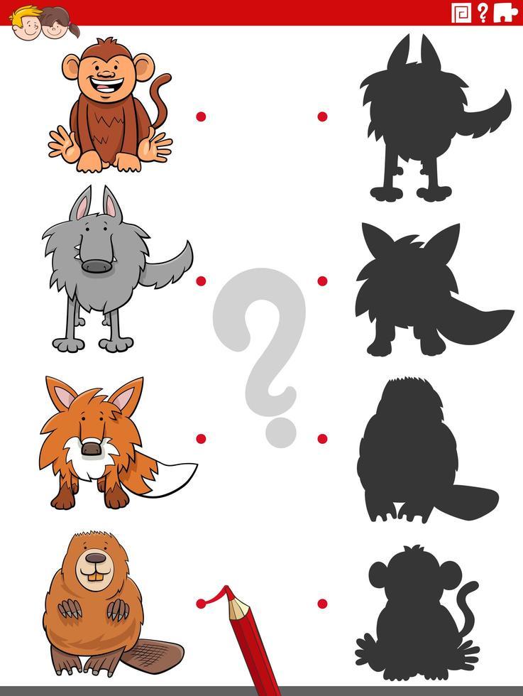 gioco di ombre con divertenti personaggi animali vettore