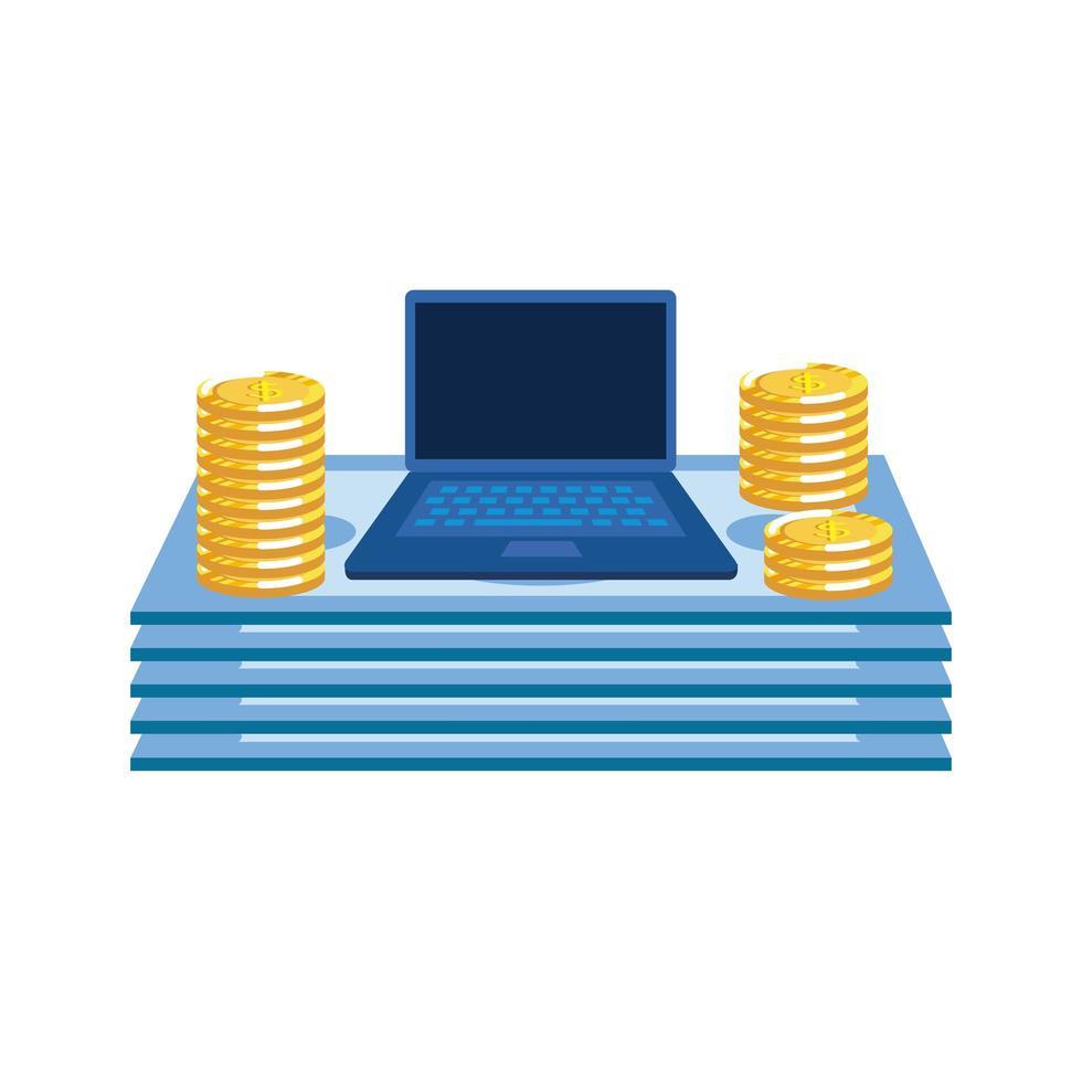 monete e banconote dollari di denaro con il computer portatile vettore