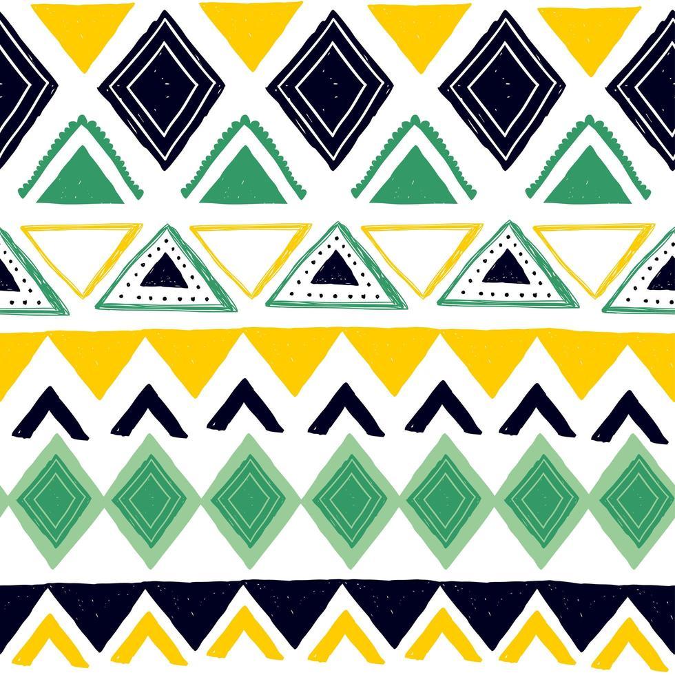 motivo a strisce senza soluzione di continuità. motivi etnici e tribali. stampa vintage, texture grunge. stile azteco, africano, asiatico, indiano e maya. illustrazione vettoriale disegnato a mano di strisce geometriche bohemien.