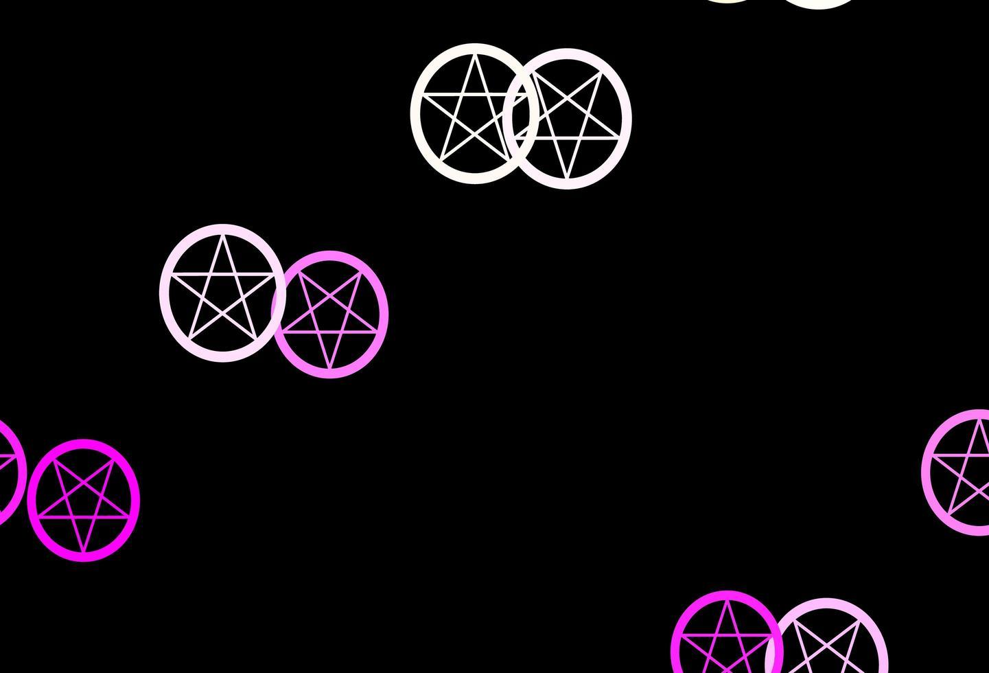sfondo vettoriale rosa scuro, giallo con simboli occulti.