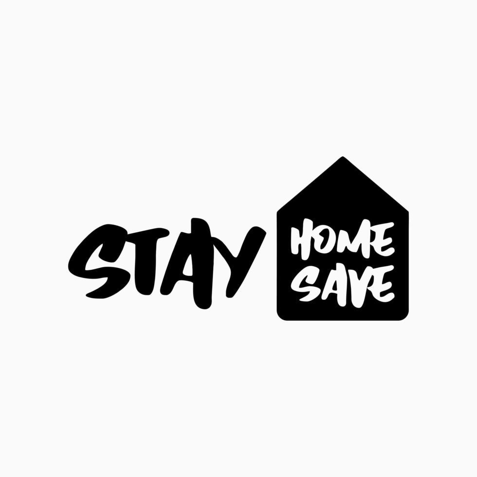 rimani a casa lo slogan con lettere di casa e tipografia. campagna di protezione dei vettori dal coronavirus, covid - 19. rimanere a casa citazione testo o hashtag. badge con logo di protezione coronavirus o covid 19.