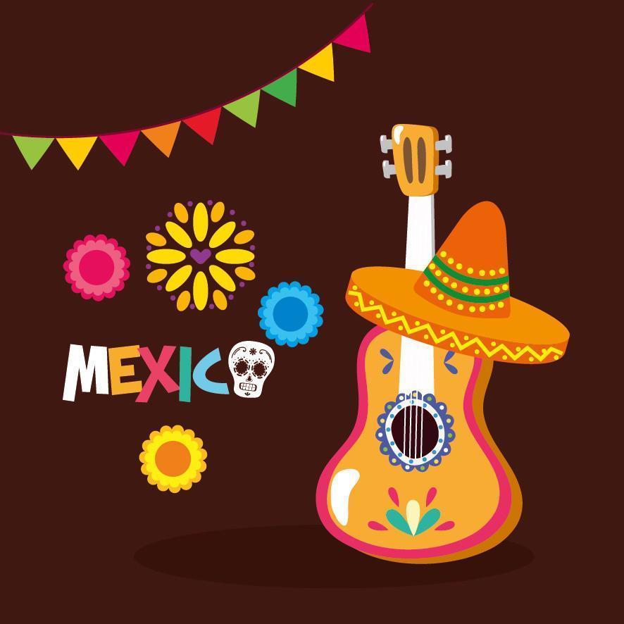 disegno vettoriale di chitarra e cappello messicano