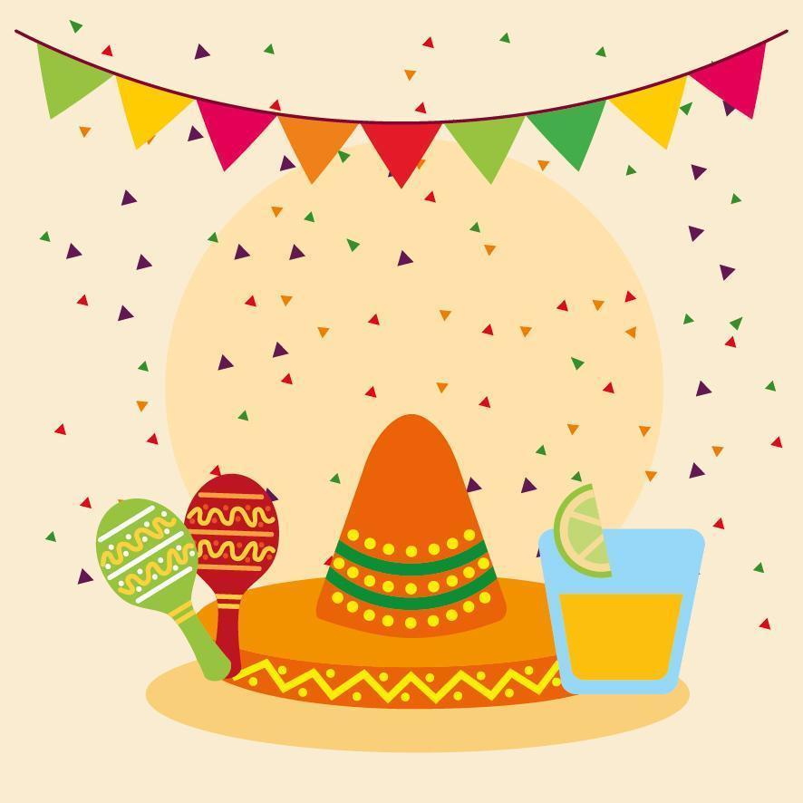 cappello sombrero messicano e disegno vettoriale maracas