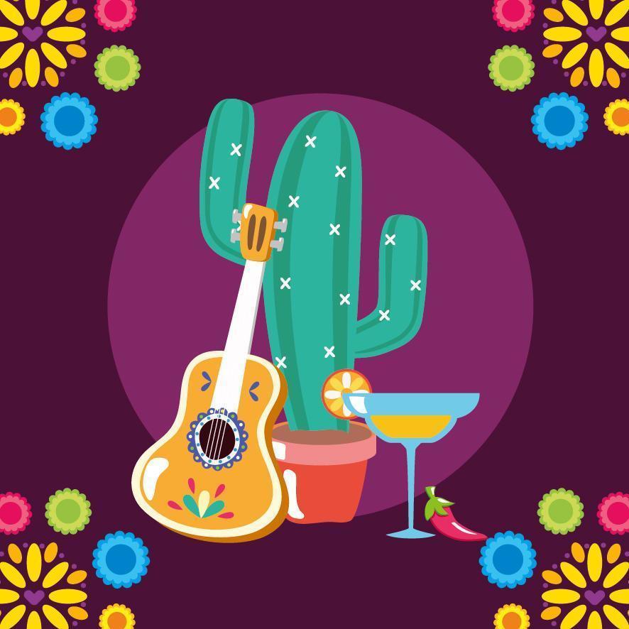 chitarra messicana e disegno vettoriale di cactus
