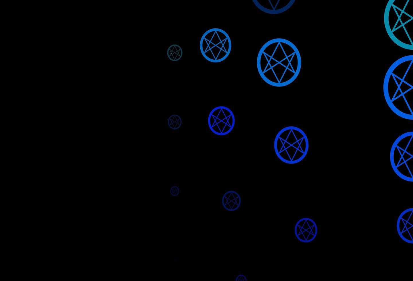 modello vettoriale blu scuro, verde con segni esoterici.