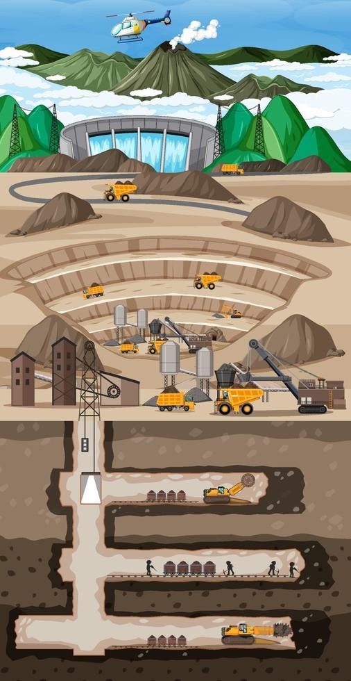paesaggio sotterraneo dell'estrazione del carbone vettore