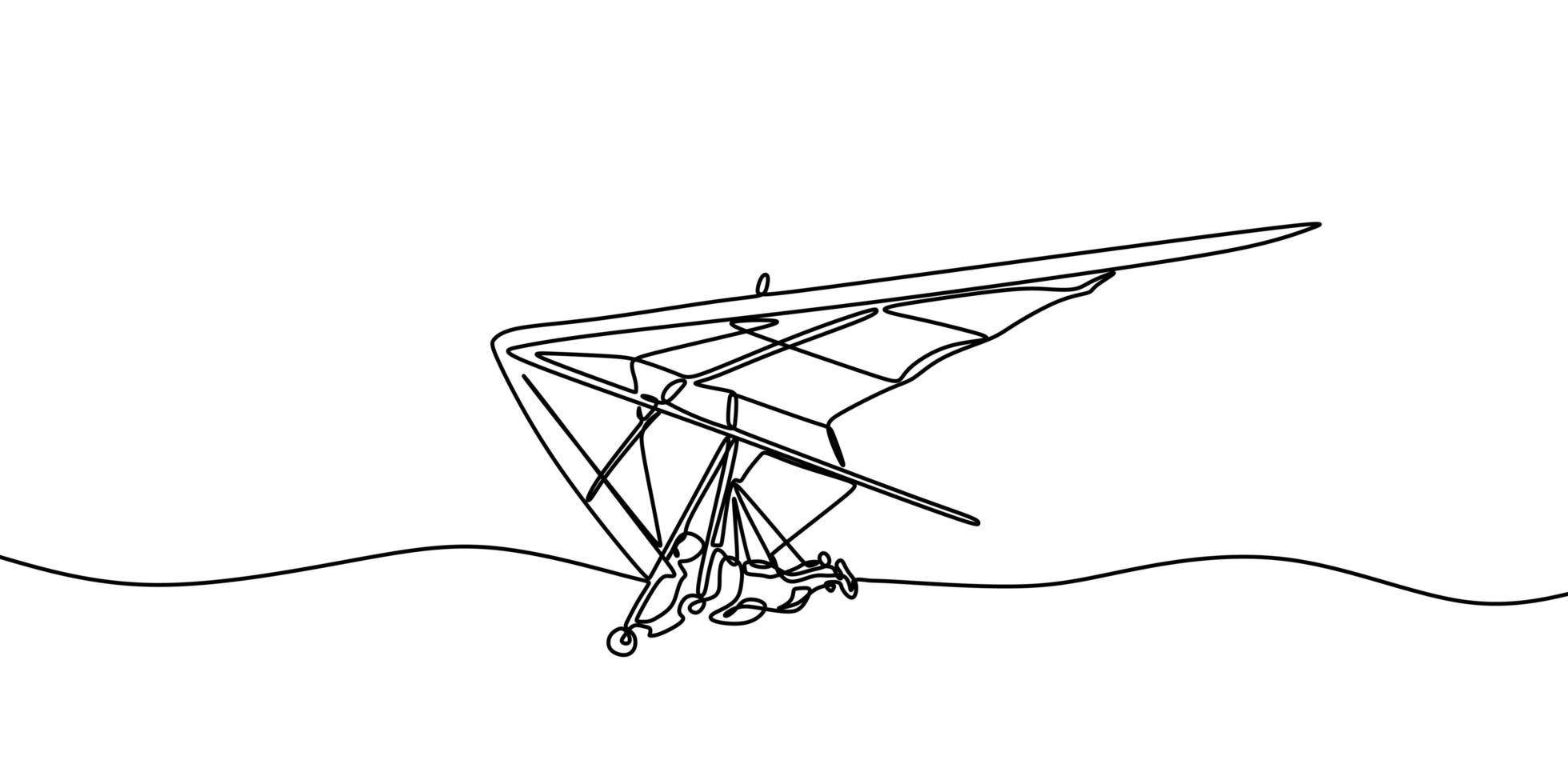 deltaplano un disegno al tratto, uno sport aereo o un'attività ricreativa in cui un pilota fa volare una luce. vettore