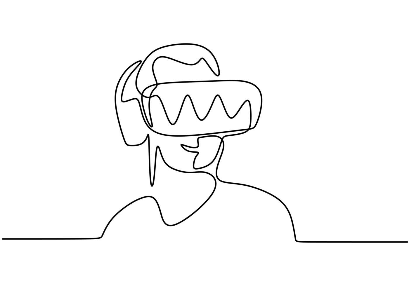 continua una linea di una persona che utilizza occhiali per realtà virtuale vettore