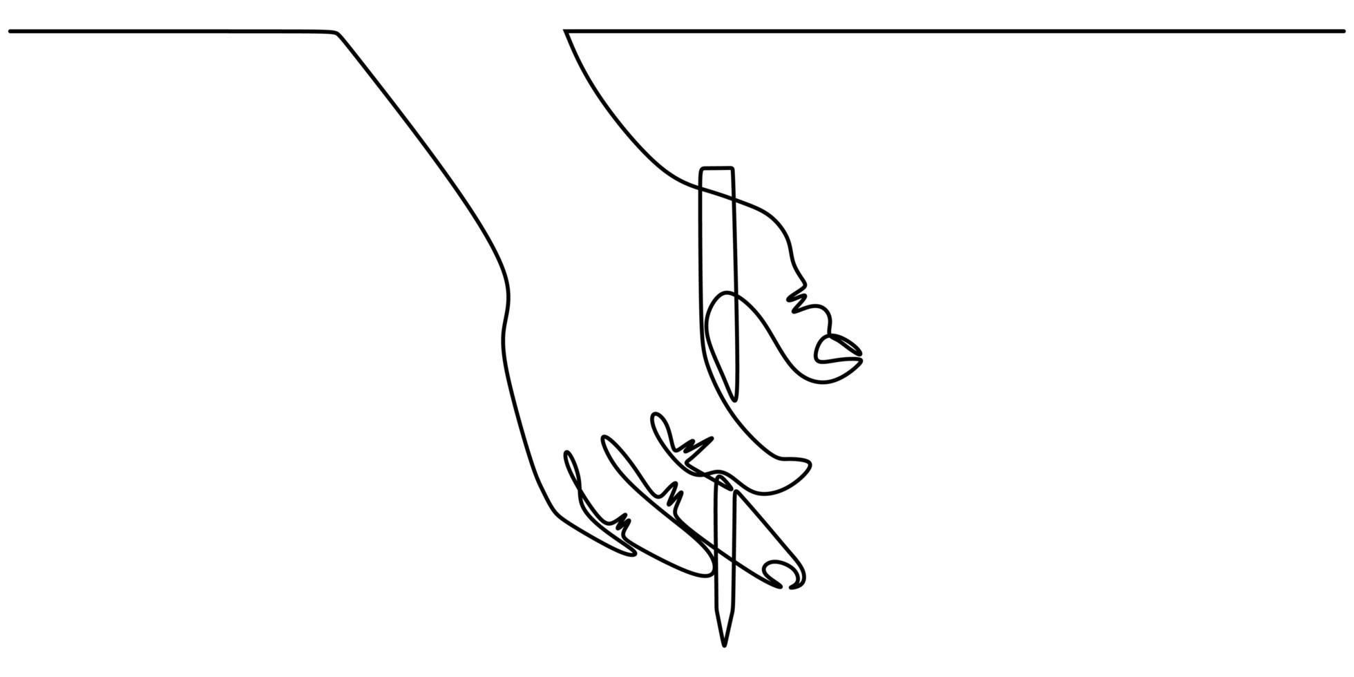 un disegno a tratteggio della mano che tiene una penna che scrive su un foglio. illustrazione vettoriale di schizzo continuo minimalismo, stile di design semplicità.