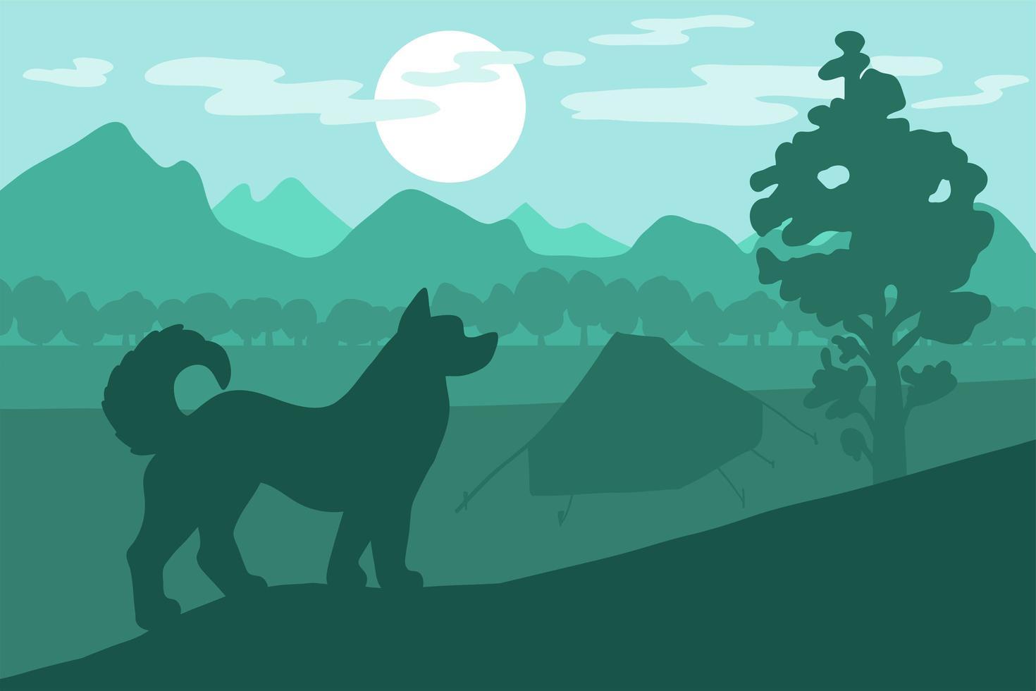cane in campeggio vettore