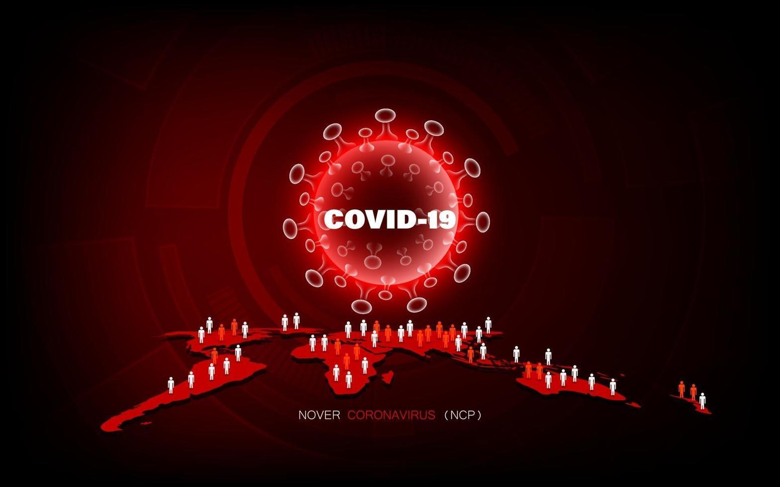 malattia da coronavirus infezione da covid-19 pandemia medica sul concetto mondiale. vettore