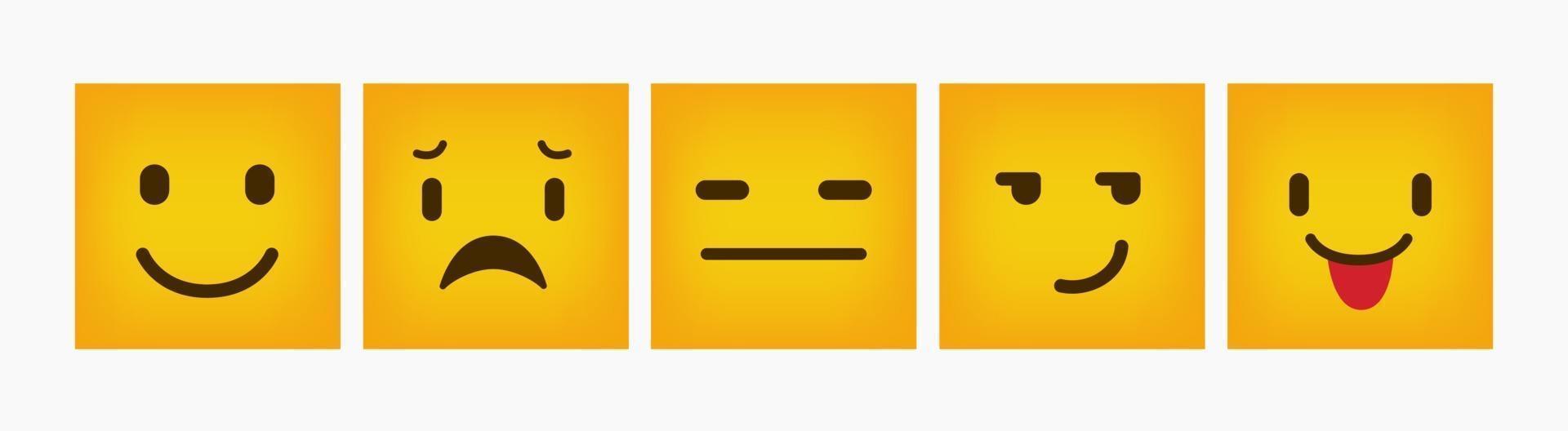 set di emoticon piatto quadrato design reazione vettore