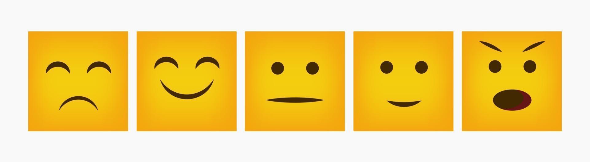 emoticon di design quadrato set piatto di reazione vettore