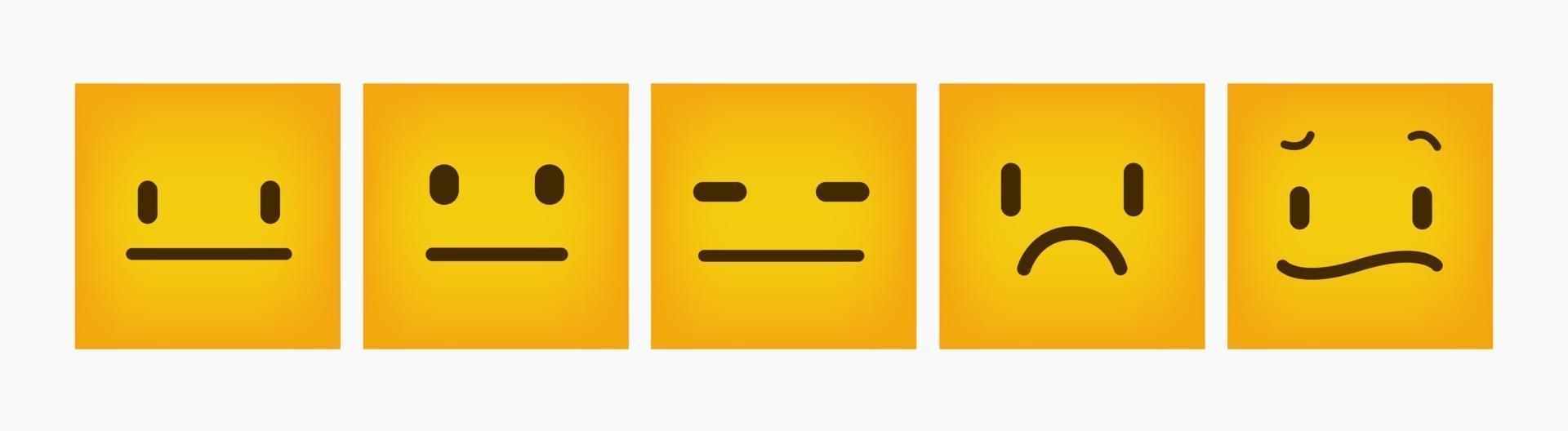emoticon di reazione design piatto quadrato set vettore