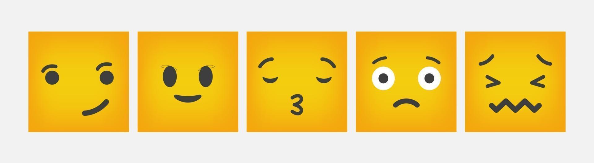 Emoticon di reazione quadrato design piatto set - vettore