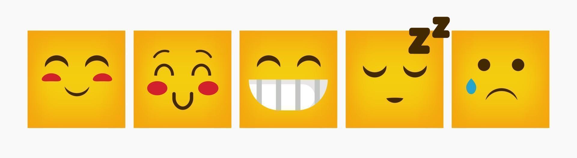 set piatto di reazione quadrata design emoticon vettore
