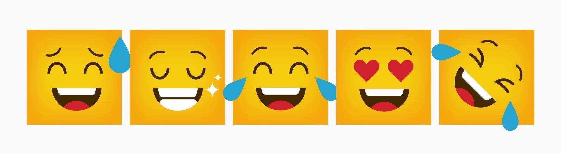 emoticon quadrato di reazione di design impostato piatto vettore