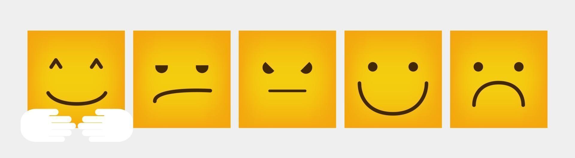 reazione emoticon quadrato design set piatto - vettore