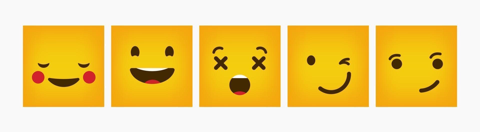 set piatto emoticon di reazione quadrata di design vettore