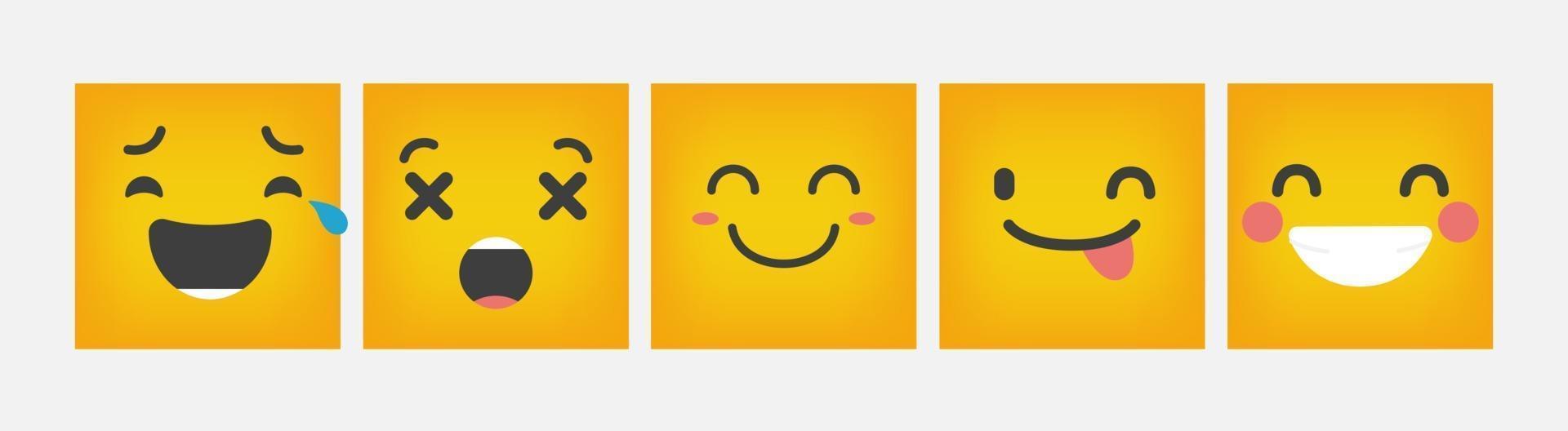 Emoticon di reazione quadrato design set piatto - vettore
