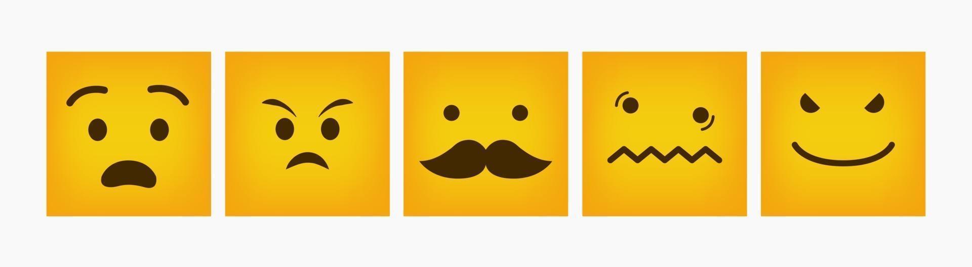 set piatto di design emoticon quadrato di reazione vettore