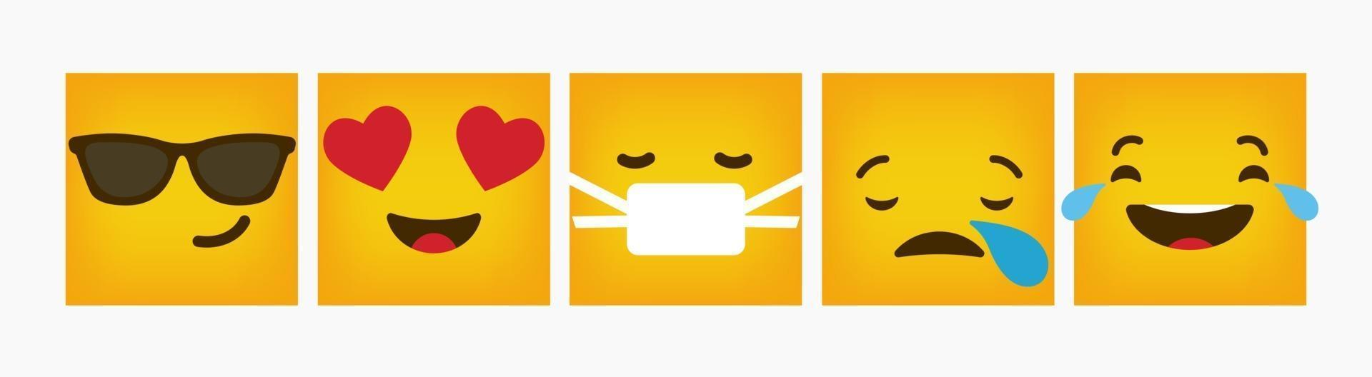 set piatto di reazione emoticon quadrato design vettore