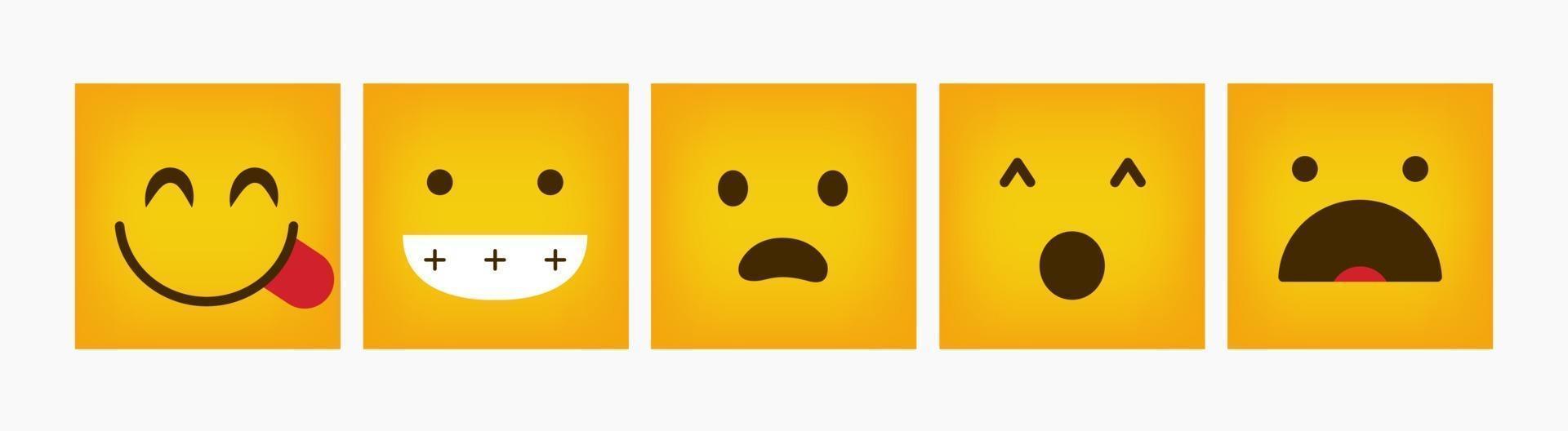 set quadrato di emoticon di reazione di progettazione - vettore