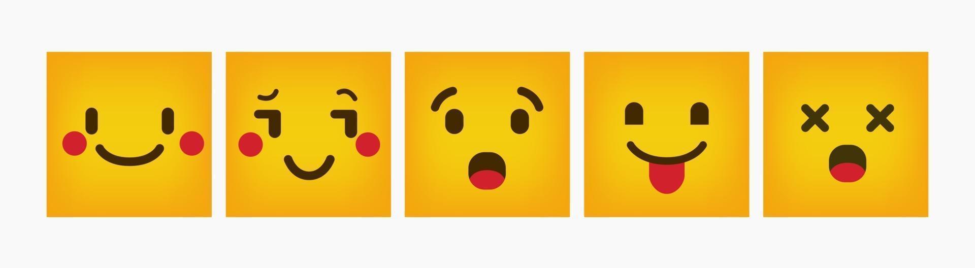 emoticon design reazione quadrato piatto set vettore