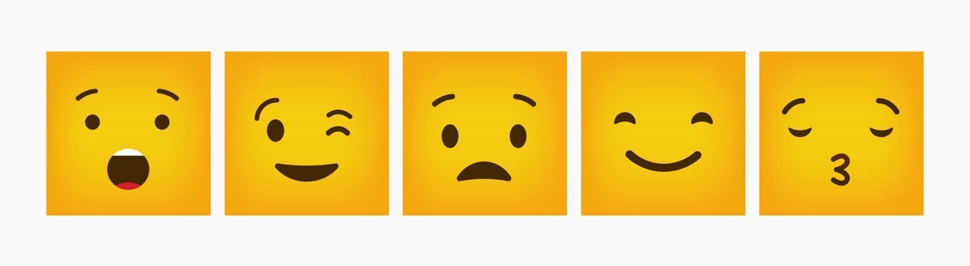 emoticon reazione design piatto quadrato set vettore