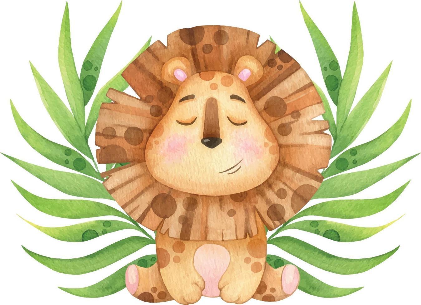 simpatico leone con ramoscelli tropicali meditando. illustrazione dell'acquerello vettore
