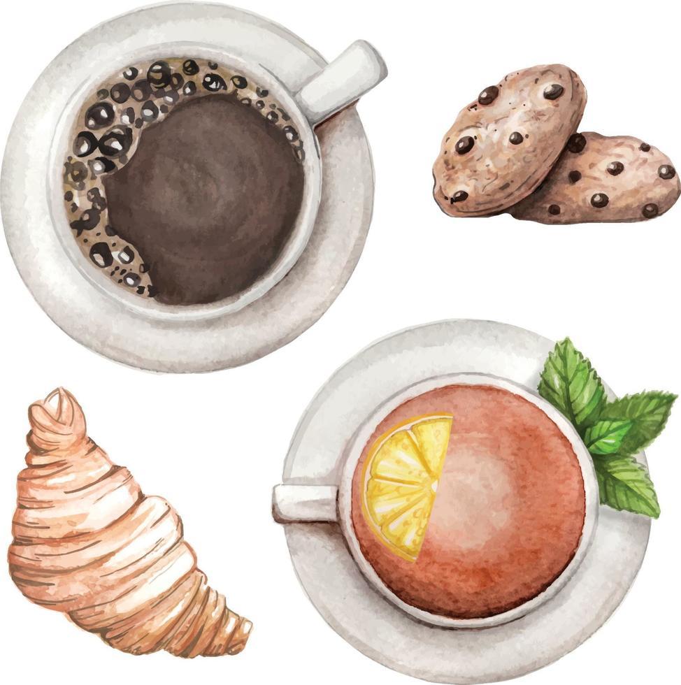 set acquerello con tè e caffè, biscotti, croissant disegnati a mano vettore