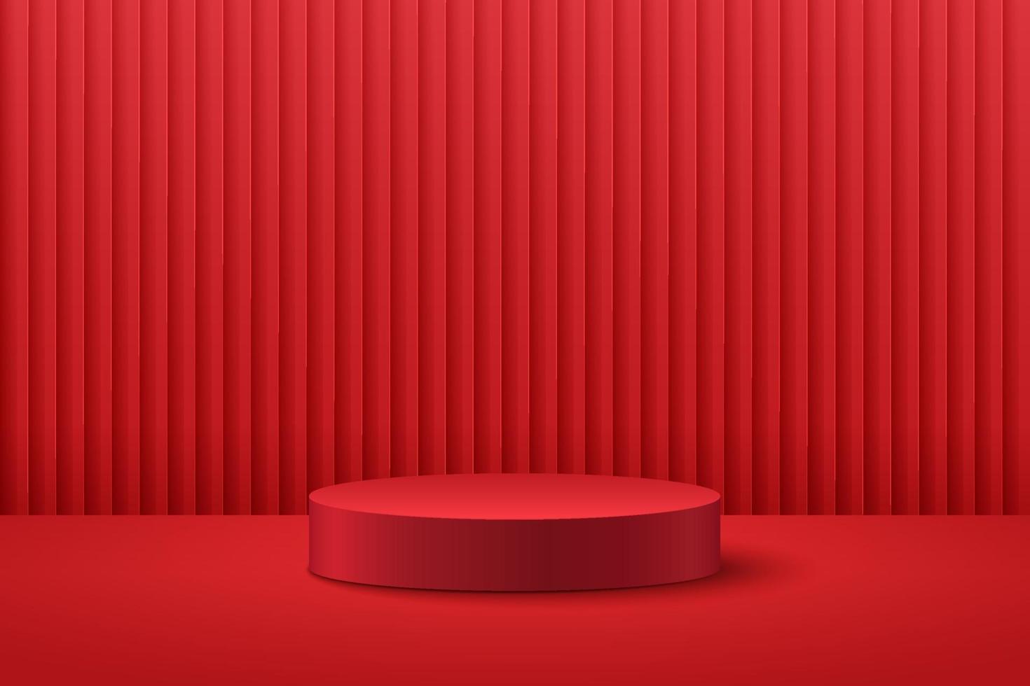 display rotondo astratto per prodotto sul sito Web dal design moderno. rendering di sfondo con podio e scena della parete di struttura della tenda rossa minima, forma geometrica di rendering 3d colore rosso scuro. concetto orientale. vettore