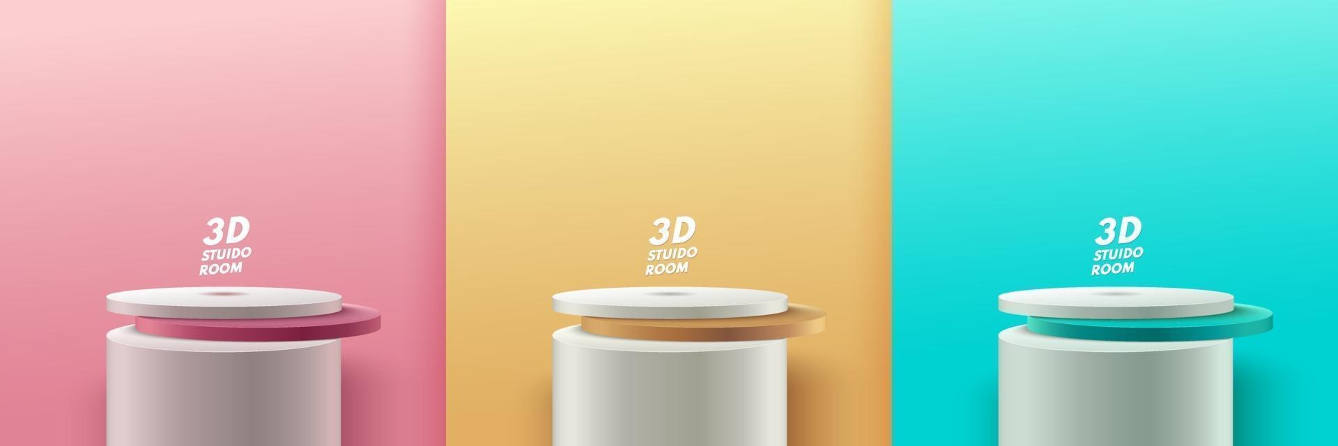 set di display rotondo astratto per prodotto sul sito Web in moderno. Rendering di sfondo pastello con podio e scena di muro a trama minima, rendering 3D di forma geometrica colore verde oro rosa. vettore eps10
