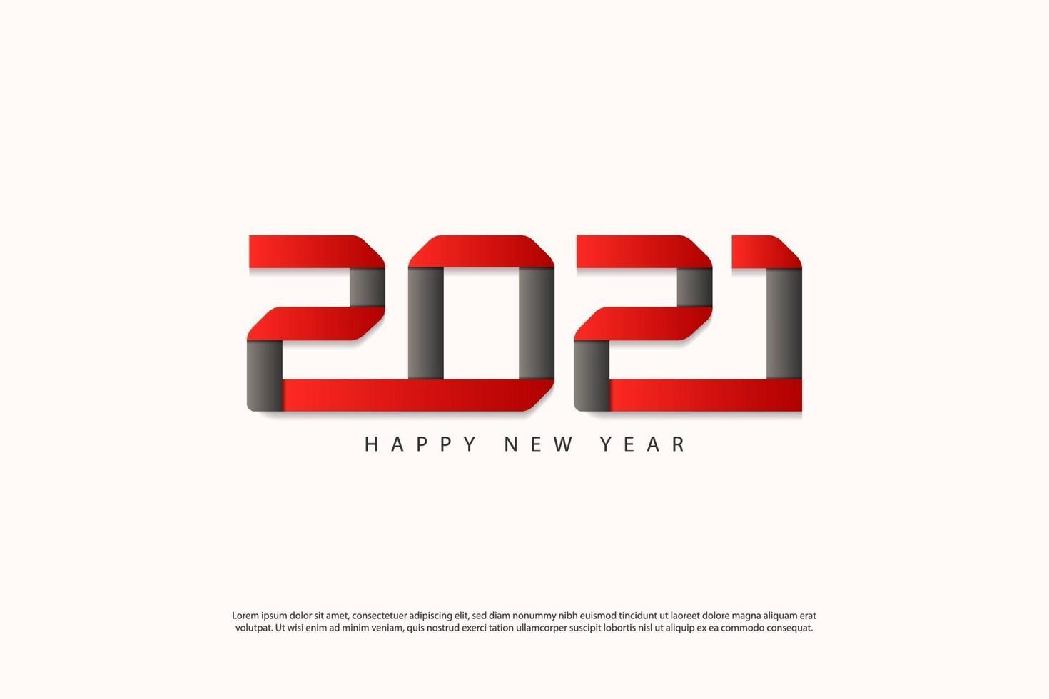 modello di progettazione di felice anno nuovo 2021 creativo per biglietti di auguri, poster, banner, illustrazione vettoriale. isolato su sfondo bianco. vettore