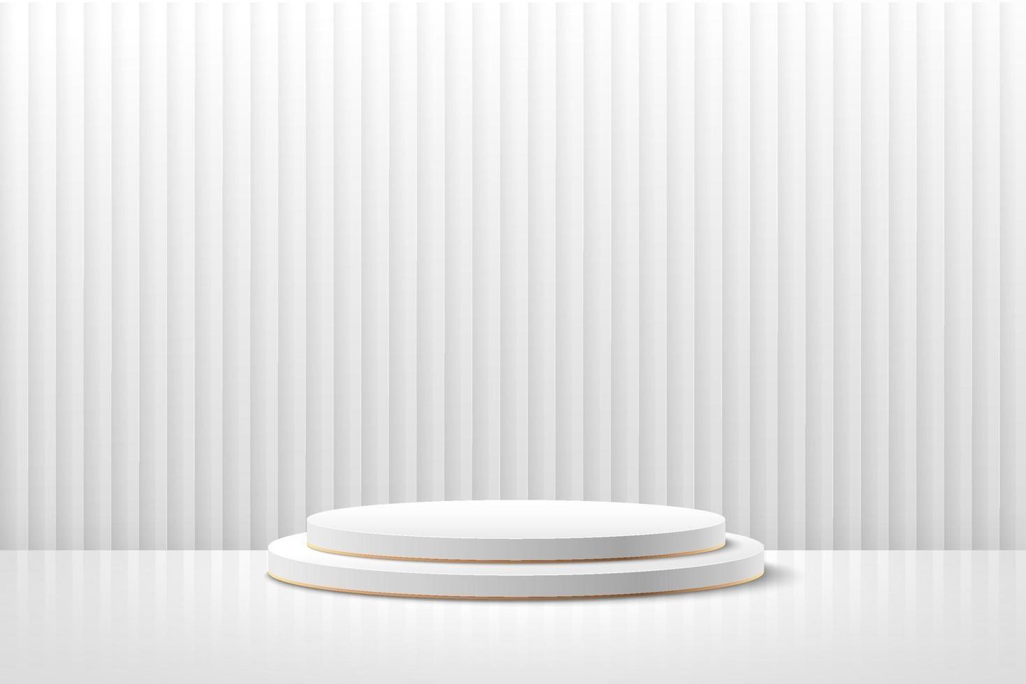 display rotondo astratto per prodotto sul sito Web dal design moderno. rendering di sfondo con podio e scena di muro con struttura a strato bianco minimo, rendering 3d forma geometrica colore bianco e grigio. vettore eps10