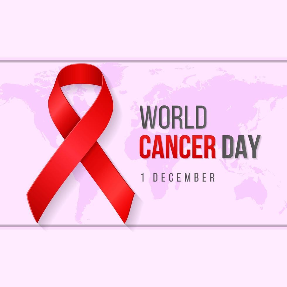 illustrazione realistica della priorità bassa di giornata mondiale del cancro con il simbolo del nastro. illustrazione vettoriale. vettore