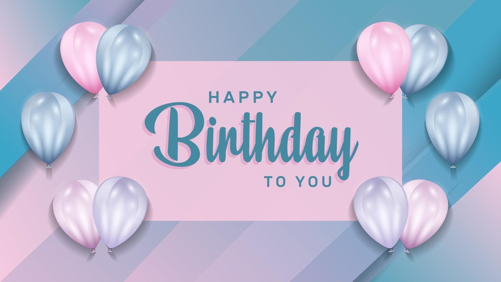 festa di buon compleanno con palloncini realistici 3d per biglietto di auguri di compleanno. banner festa, anniversario. illustrazione vettoriale. vettore