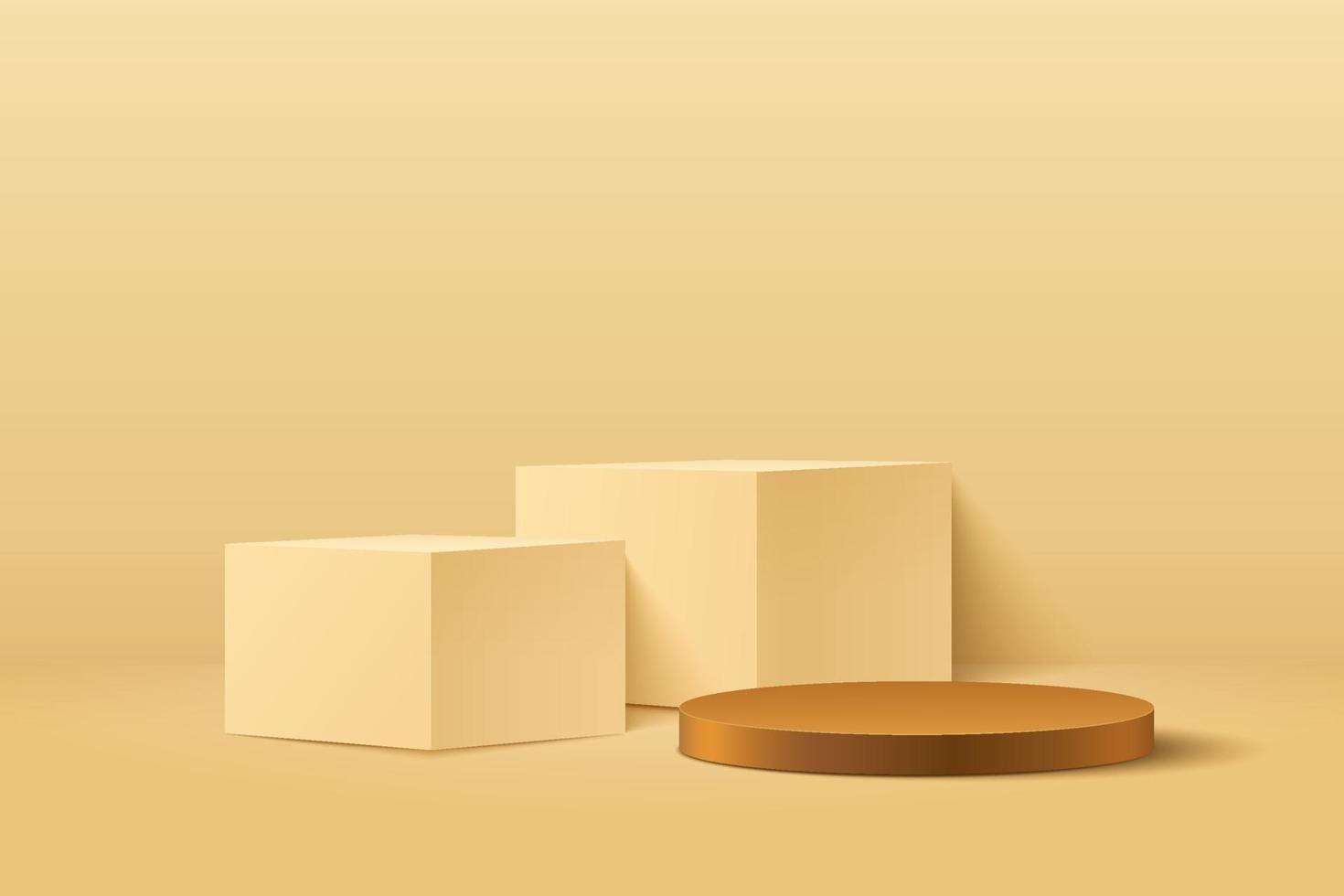cubo astratto e display rotondo per prodotto sul sito Web dal design moderno. rendering di sfondo con podio e scena di muro con trama oro minima, colore marrone giallo di forma geometrica di rendering 3D. vettore eps10
