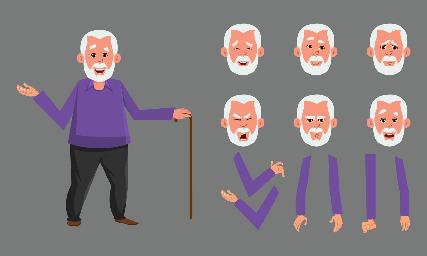 set di caratteri da uomo anziano per animazione, motion design o altro. vettore