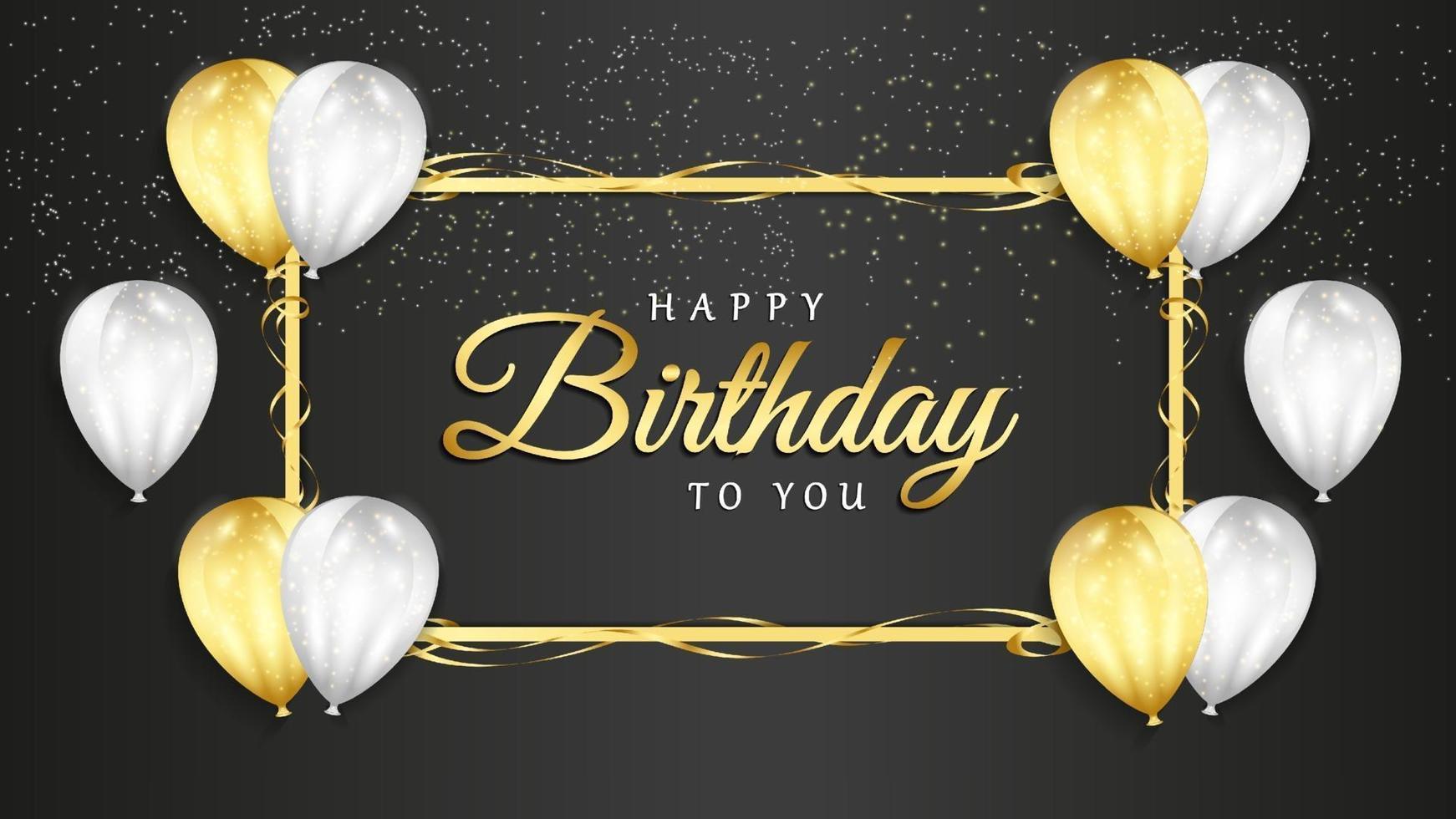 celebrazione di buon compleanno su sfondo nero con palloncini realistici 3d e coriandoli glitter per biglietto di auguri, banner festa, anniversario. vettore