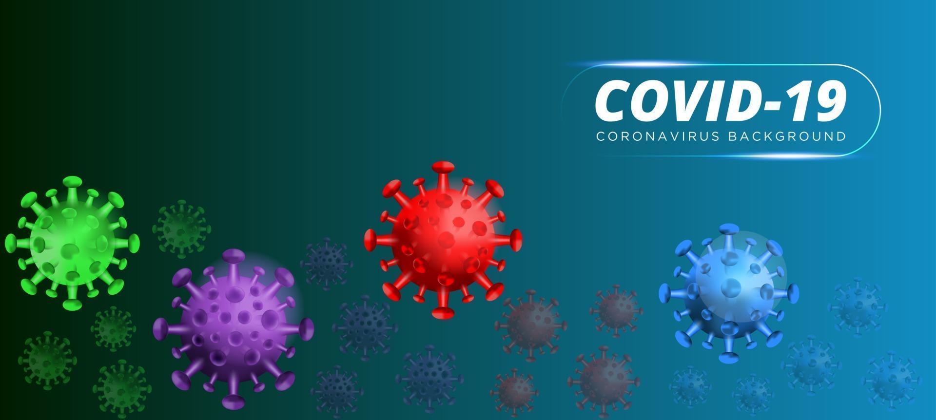 covid19. focolaio di coronavirus, epidemia di malattia virale, rendering 3d del virus, illustrazione dell'organismo. sfondo blu con cellule virali 3d realistiche. Illustrazione 3D. vettore