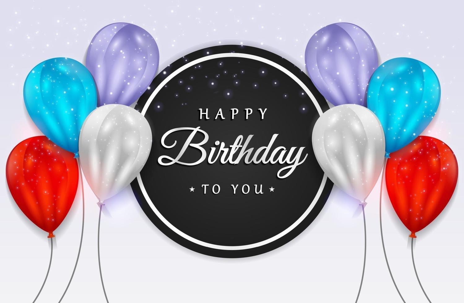 festa di buon compleanno con palloncini realistici e coriandoli glitterati per biglietto di auguri, banner festa, anniversario. vettore