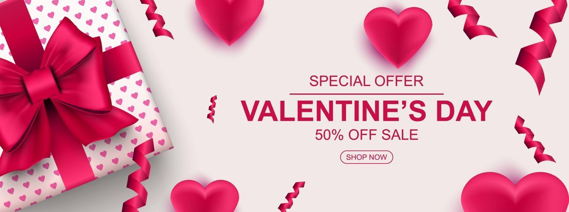 banner web di vendita di san valentino. confezione regalo realistica con fiocco, cuore e coriandoli vettore